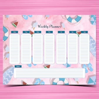 Student planner with beach elements