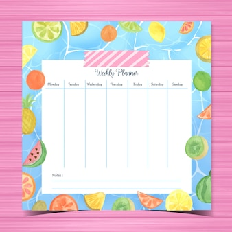 Student planner with watercolor fruits