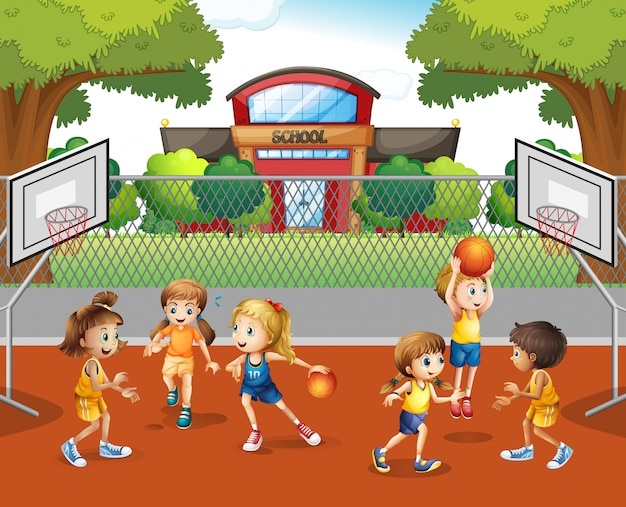 Student playing basketball at school