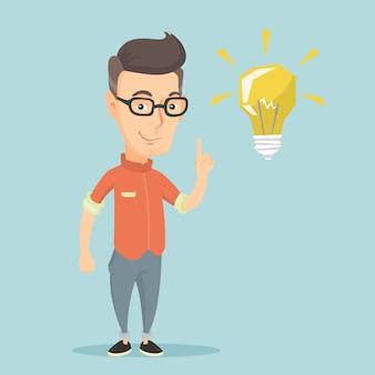 Студент, указывая на идею лампы векторные иллюстрации