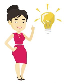 Студент, указывая на идею лампы