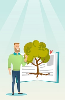 Student pointing at tree of knowledge.