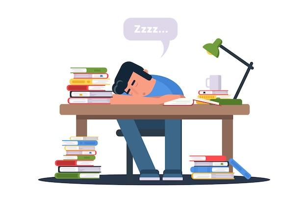 Студент готовится к экзаменам иллюстрации. усталый, истощенный зрачок зубрежки персонажа.