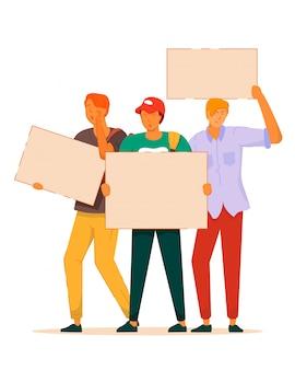 학생 항의. 빈 기호 인권을 위해 항의하는 젊은 사람들. 시위에서 항의하는 학생 군중 투표. 그룹 항의 그림입니다. 정치 회의 및 항의 벡터