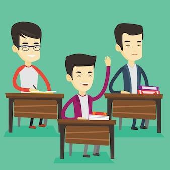 대답을 위해 수업 시간에 손을 올리는 학생. 프리미엄 벡터