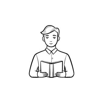 本を読んでいる学生手描きのアウトライン落書きアイコン。手に本を持つ男は、白い背景で隔離の印刷、ウェブ、モバイル、インフォグラフィックのスケッチイラストをベクトルします。