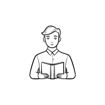 Student reading a book hand drawn outline doodle icon. man with a book in hands vector sketch illustration for print, web, mobile and infographics isolated on white background.