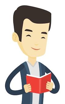 Студент читает книгу.