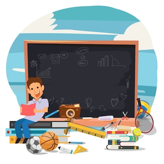 Student reading his book with blackboard for learning - vector illustration - vector