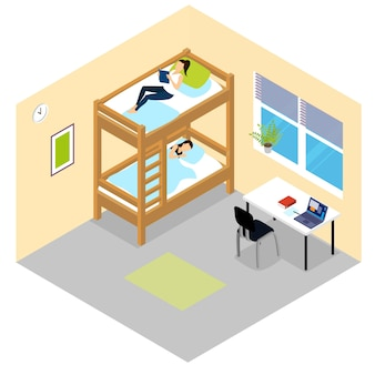 Student room isometric composition