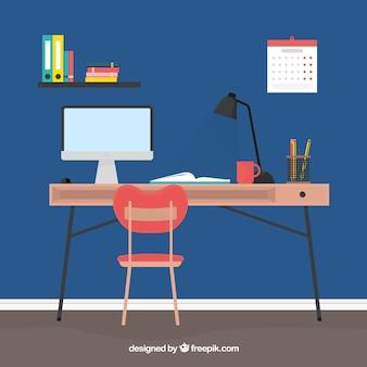 Студенческая рабочая зона с современным стилем