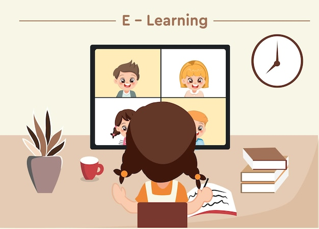 Student or school girl studying on computer at home . online lesson and education vector concept.