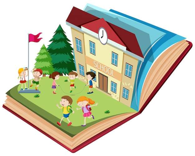 Student at school open book theme