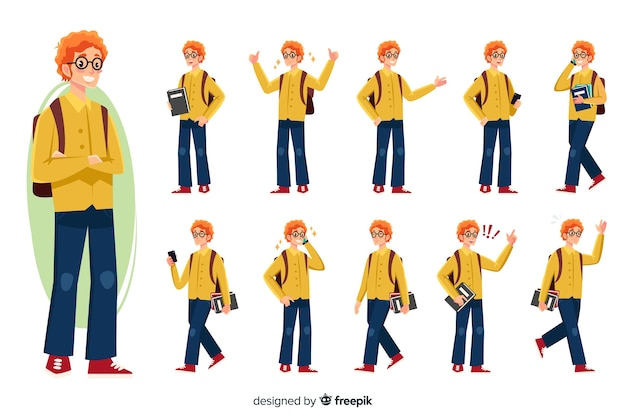 Student set with different postures