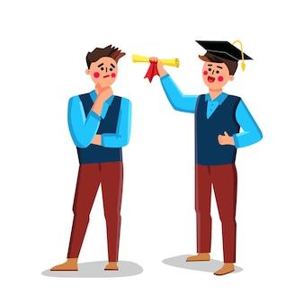 친구 벡터에게 학생 쇼 졸업 디플로마. 졸업 모자를 쓰고 인증서를 들고 소년입니다. 대학 식 평면 만화 일러스트 레이 션에 문자 학생과 젊은 남자