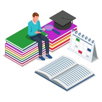 学生は座って本を読みます。学校イラストコンセプトに戻る等尺性。ベクター