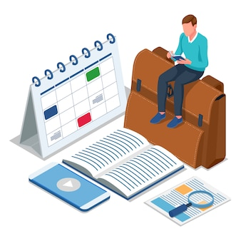 Student sit on the bag and reading book. male with education technology concept. isometric education back to school illustration. vector