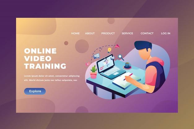 Webページヘッダーランディングページのオンラインビデオトレーニングを使用して宿題を座って作業する学生