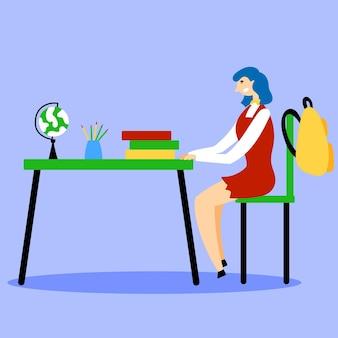 Student sitting desk classroom