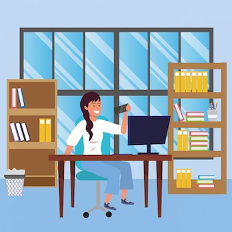 Student sitting in library desk illustration