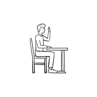책상 손으로 그린 개요 낙서 아이콘의 의자에 앉아 있는 학생. 흰색 배경에 격리된 인쇄, 웹, 모바일 및 인포그래픽을 위한 학교 책상 벡터 스케치 그림에 앉아 있는 사람.