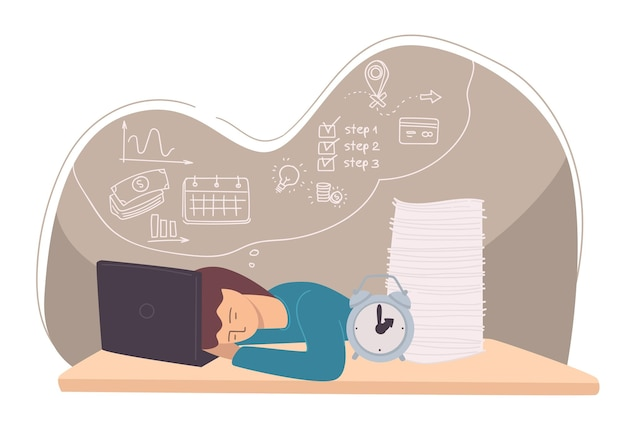 Student sleeping by laptop, exhausted employee or tired freelancer. workaholic or manager with boards of writings and clock. deadline and time management issues, exhaustion. vector in flat style
