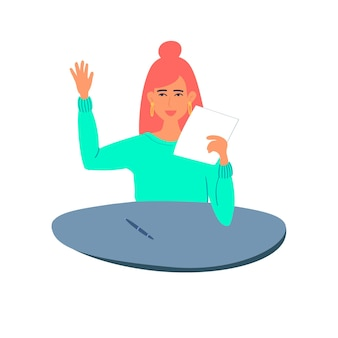 The student stretches out her hand and holds a paper with a test in her hands. vector illustration
