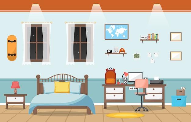 Student study desk table bedroom interior room furniture