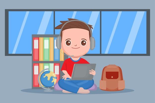 집에서 공부하는 학생