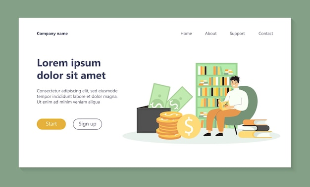 Student studying finance landing page