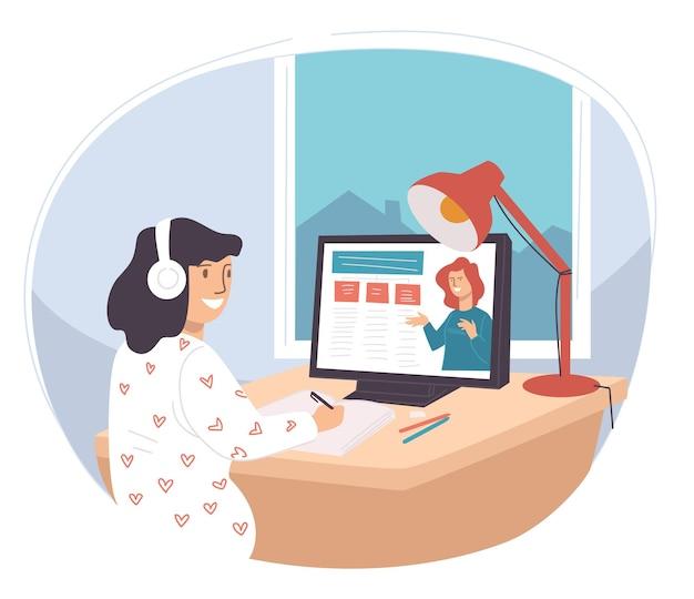 ウェブのオンラインコースを使用してオンラインで勉強している学生