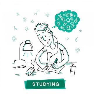 Студент, изучающий векторные иллюстрации наброски.