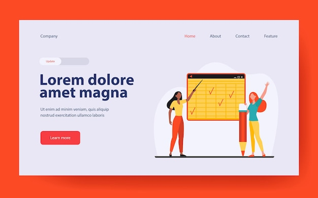 Student and teacher at class landing page in flat style