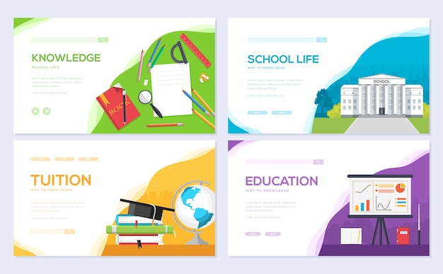 Student template of flyear, web banner, ui header, enter site. layout invintation modern