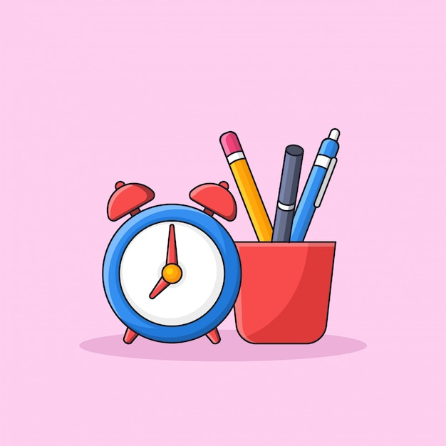 Student tools inside a cup with alarm clock illustration