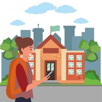 Student using smartphone on campus illustration