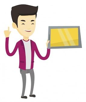 Студент с помощью планшетного компьютера.