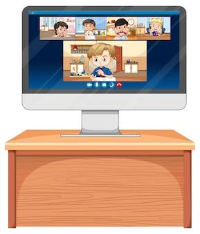 Schermata online di chat video per studenti sullo schermo del computer su bianco