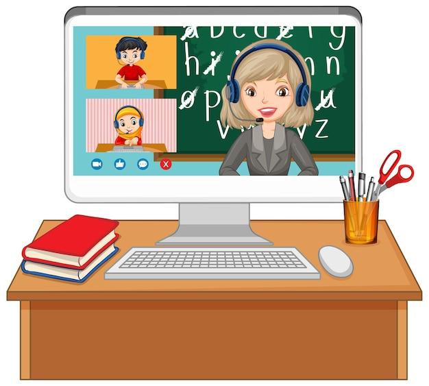 Schermata online di chat video per studenti sullo schermo del computer
