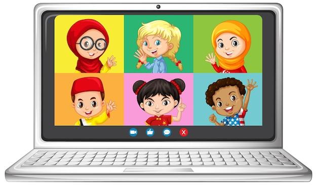 Schermata online di chat video per studenti sul portatile su sfondo bianco