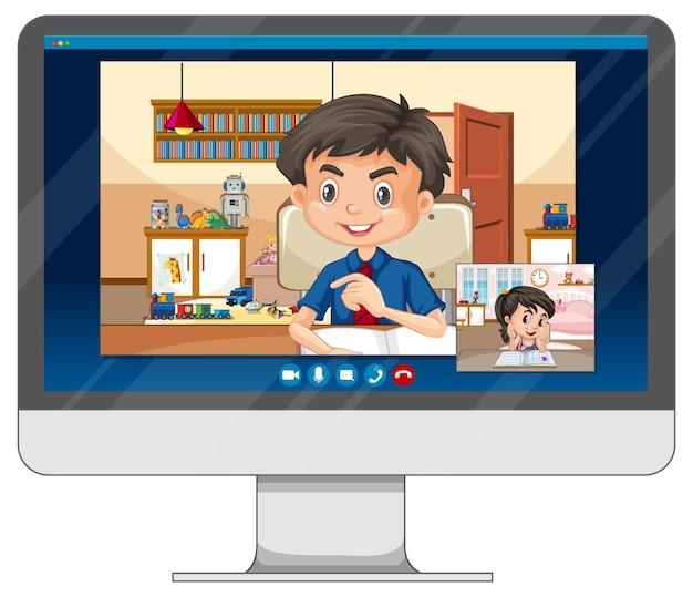 흰색 바탕에 컴퓨터 화면에 학생 화상 채팅 온라인 화면