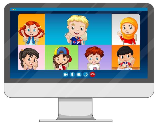 白い背景の上のコンピュータ画面上の学生のビデオチャットオンライン画面