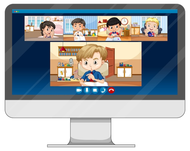 컴퓨터 화면의 학생 화상 채팅 온라인 화면