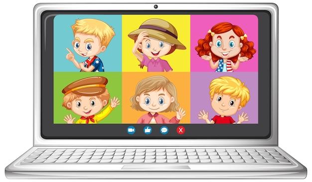 白い背景の上のラップトップ上の学生のビデオチャットオンライン画面