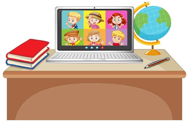 흰색 바탕에 노트북에 학생 화상 채팅 온라인 화면
