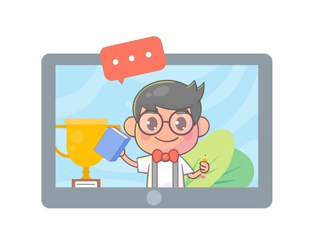 태블릿 화면에 학생 화상 채팅 온라인 화면