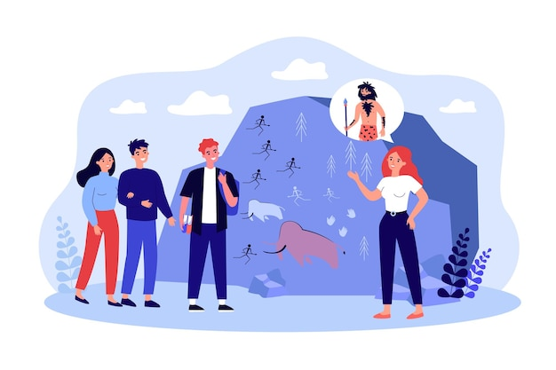 Student visiting history museum excursion with guide. people having group tour at anthropology museum with teacher. education, science concept. flat cartoon vector illustration.