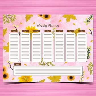 Student weekly planner with gorgeous yellow flowers and abstract pink background