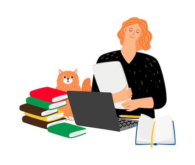 Студент с кошкой, книгами и ноутбуком.