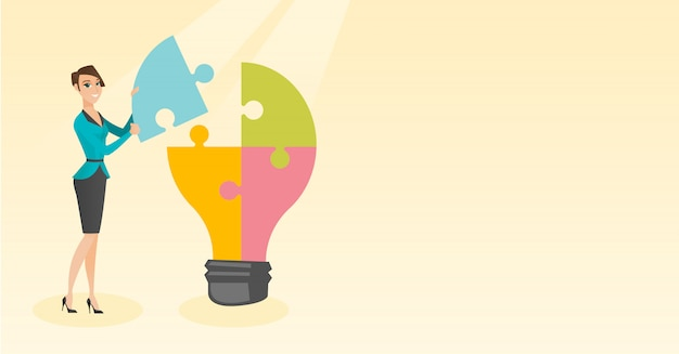 Student with idea lightbulb vector illustration.